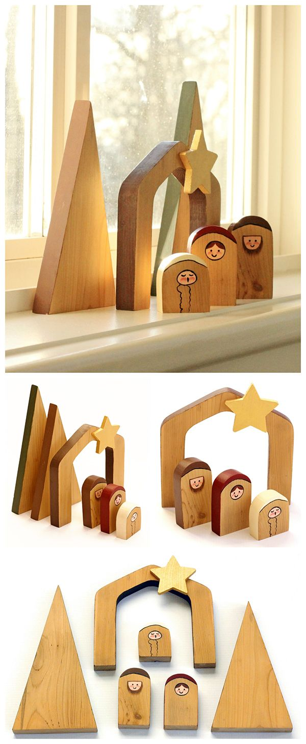Simple wooden nativity scene unique gifts scene and template easy unique diy make this simple and unique wooden nativity scene beautiful for solutioingenieria Choice Image
