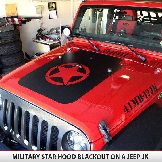 Custom Invader Style Military Star Jeep Hood Blackout Decal Vinyl - Custom vinyl hood decals