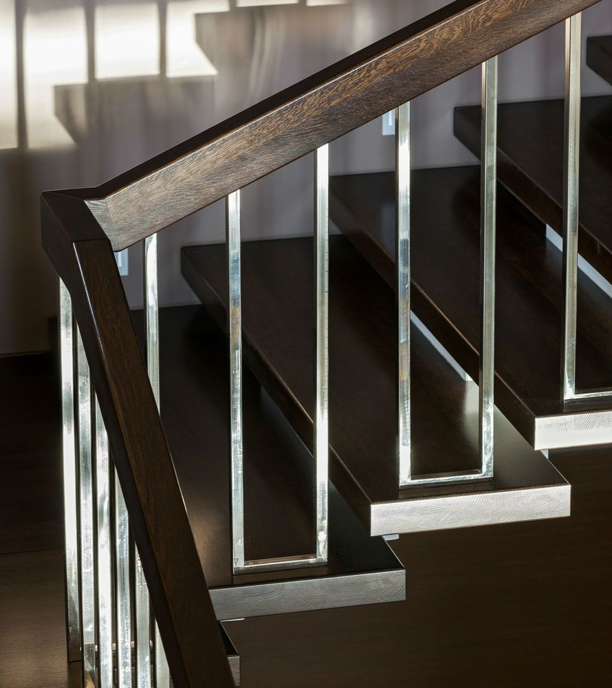Best Dark Brown And Chrome Modern Stair Rails Interior Stair 640 x 480