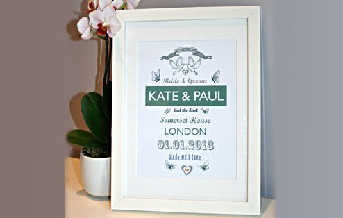 Celebrate The Happy Couples Wedding Day With Our Personalised Print Complete Vital