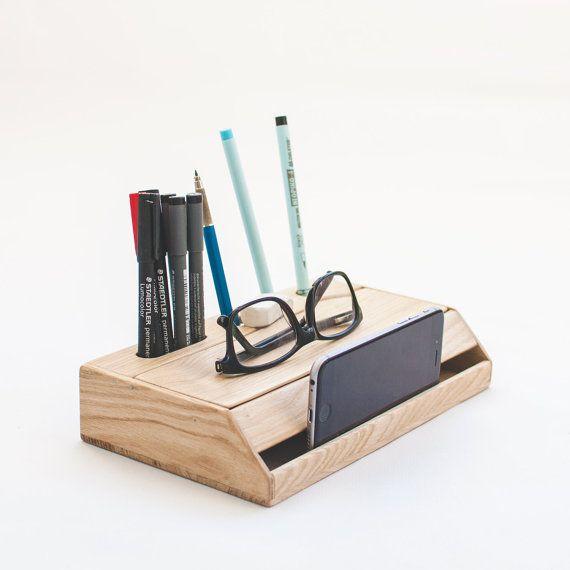 Wood Handmade Desk Organizer Office Modern Desk Organizer