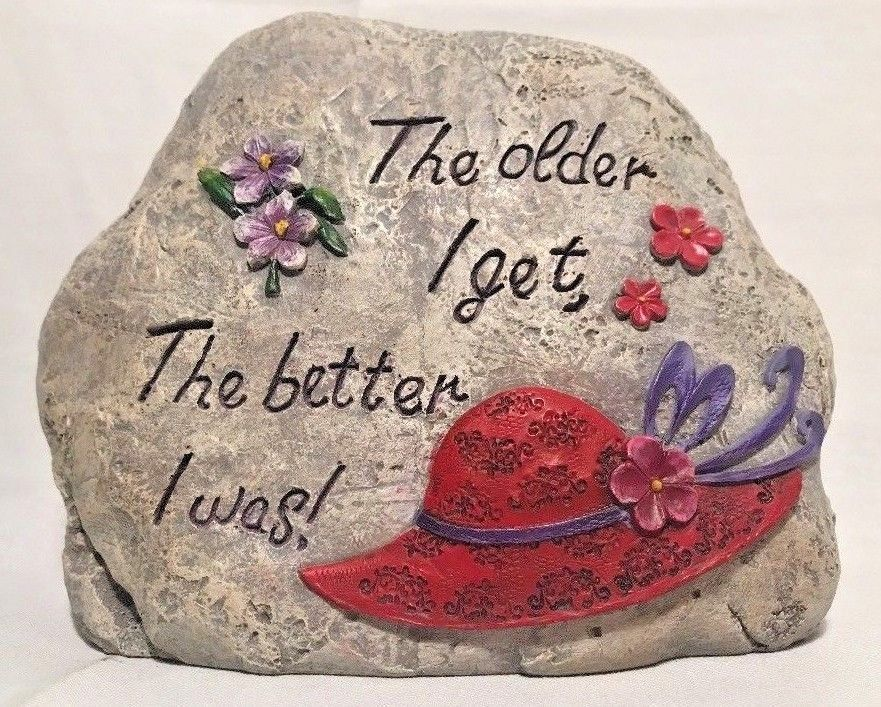 Details about Red Hat Society The Older I Get the Better I Was Garden Faux Rock Garden Art is part of Red Rock garden -