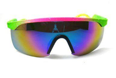 b794834696e 80 s Vintage Neon Splattered Wrap Sunglasses