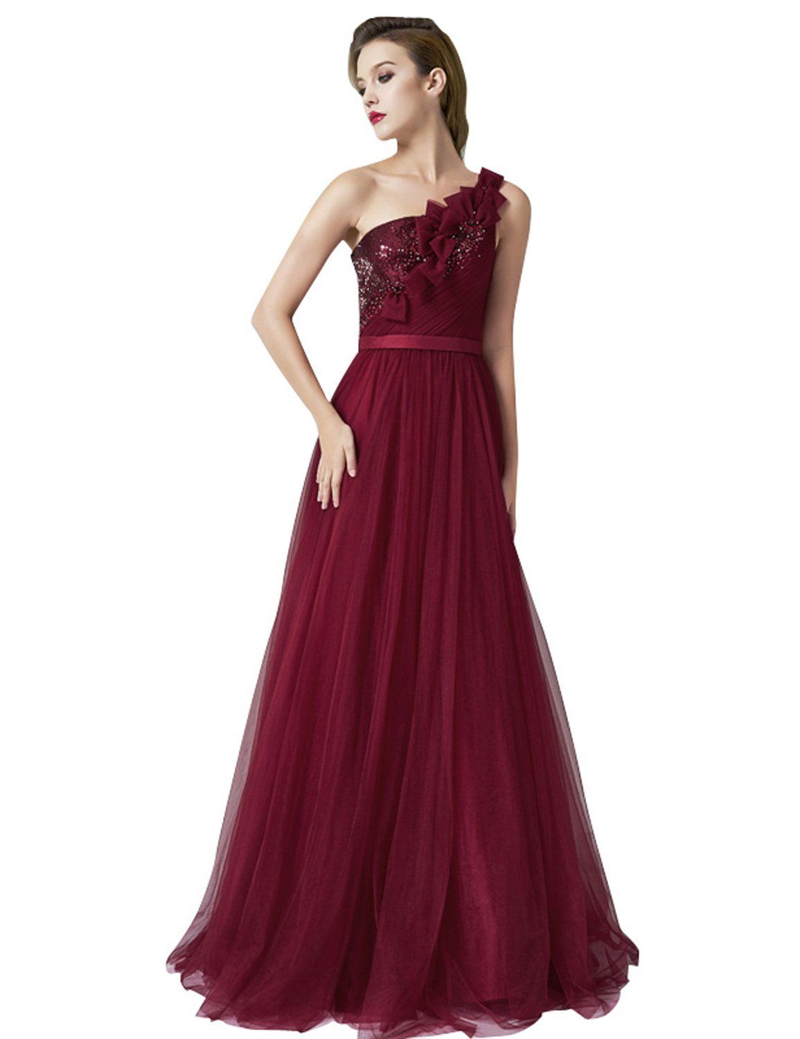 Anne womenus one shoulder beaded prom dress burgundy long evening