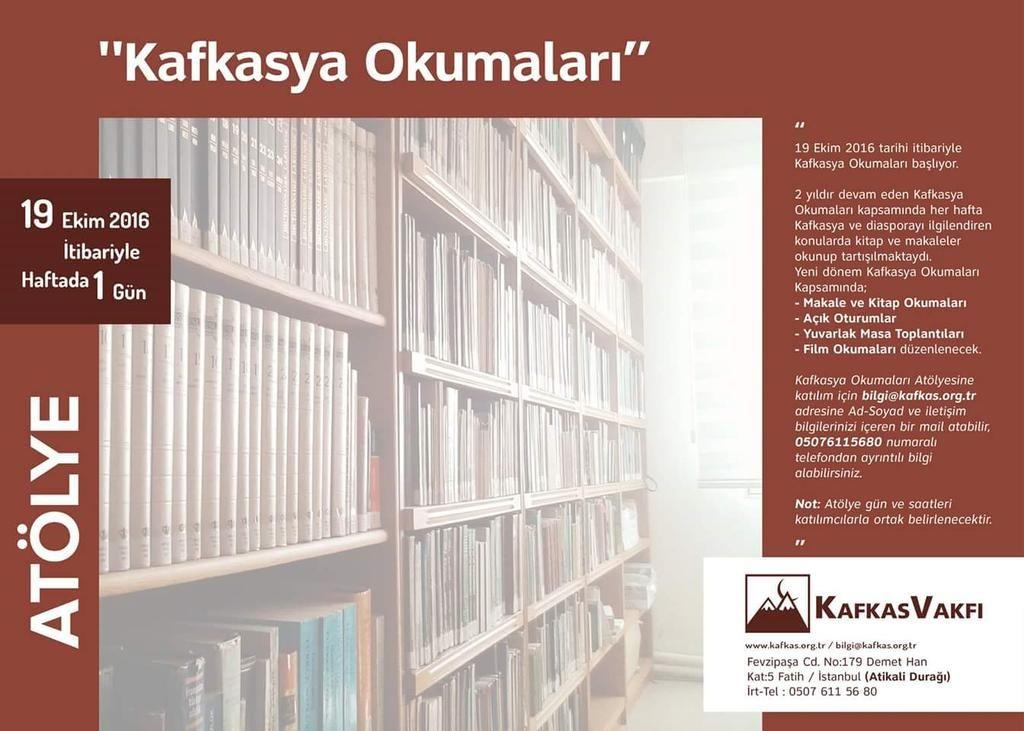 RT @kafkasvakfi: Kafkasya Okumaları Atölyemize Kayıtlar Başladı! https://t.co/q1e3pDIBve https://t.co/V42HdWfIfQ