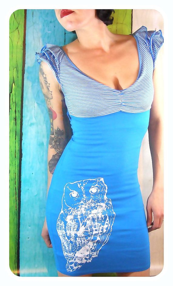 Womens Owl Dress aqua and white stripes blue by MoxieMadness, $42.00