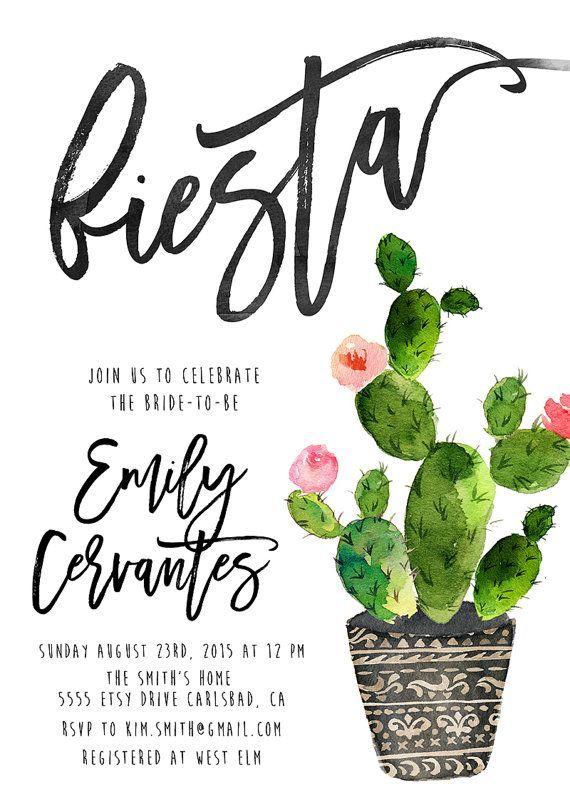 Fiesta Bridal Shower Invitation Cactus Watercolor Calligraphy Printable Invites 727