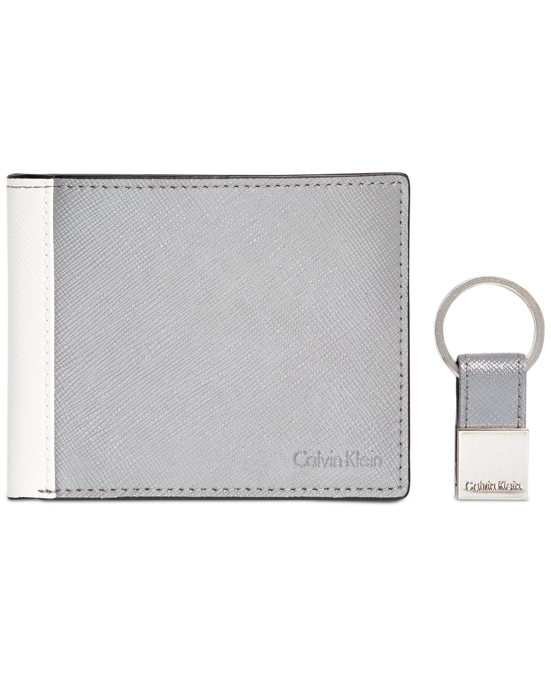 c56c64b25f37 Calvin Klein Saffiano Leather Two-Tone Bifold Wallet   Key Fob