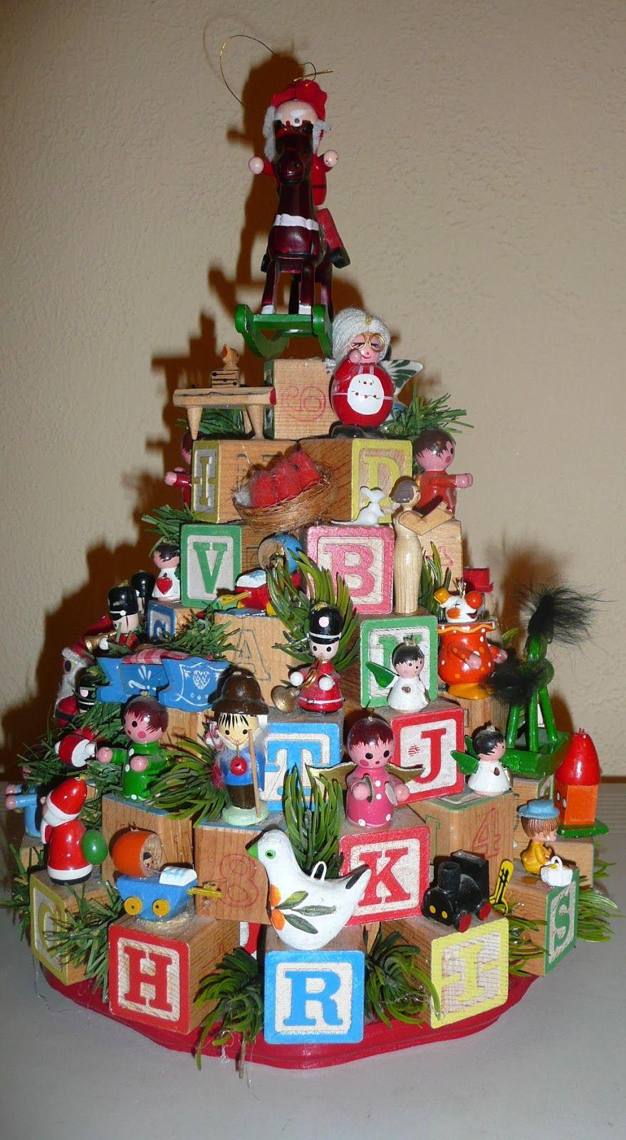 Family heirloom childrens block christmas tree diycraft