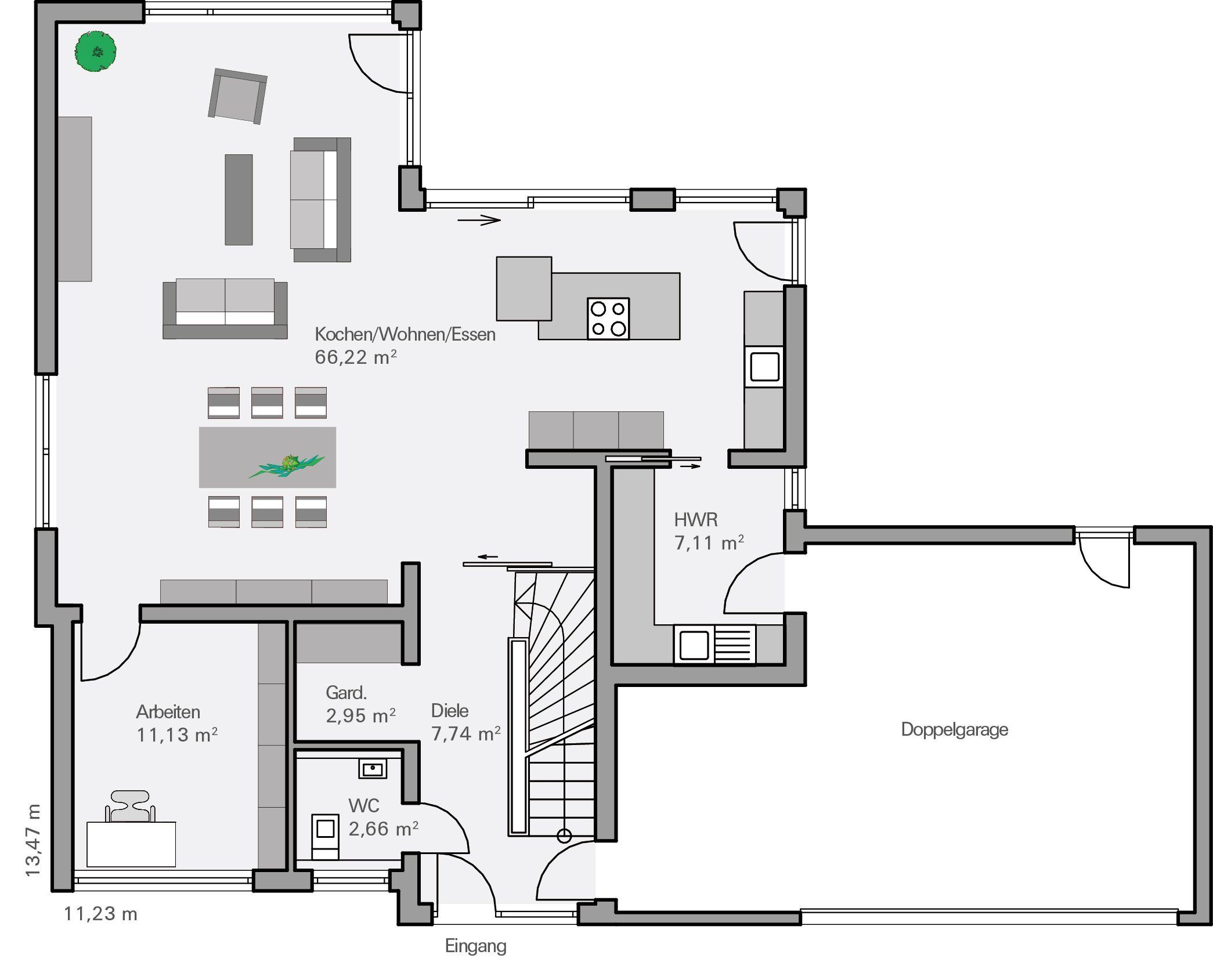 Hausbau grundriss haus pläne grundriss einfamilienhaus traumhaus offene raumaufteilung moderner bungalow raumgestaltung innenarchitektur