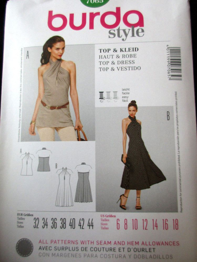 5eba21fd31903 7065 BURDA Misses Halter Criss Cross Neck Top Dress Flared Pattern UC 6-18