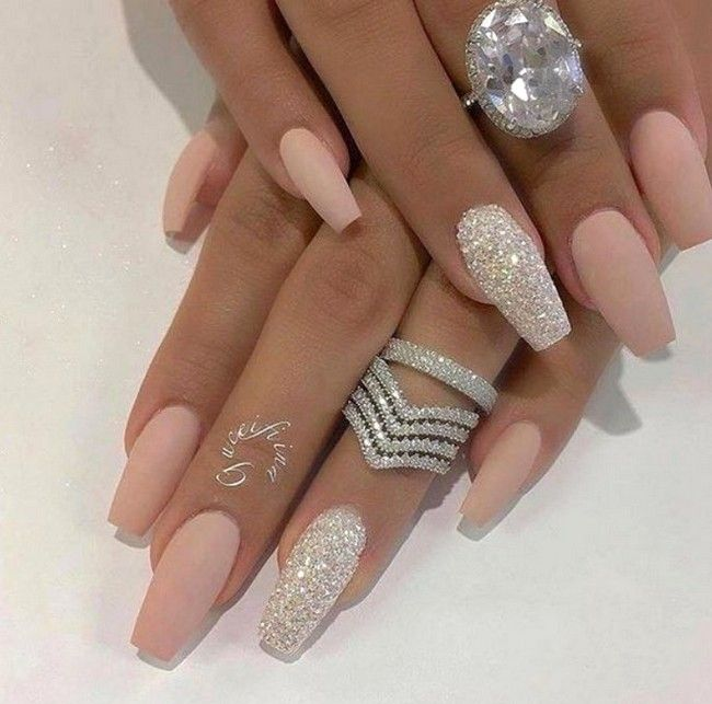 59 Best Chosen Glitter Nails Ideas Acrylic Nails Matte Nails For Prom And Wedding Page 16 Of 59 With Images Luxury Nails Matte Nails Design Bling Nails