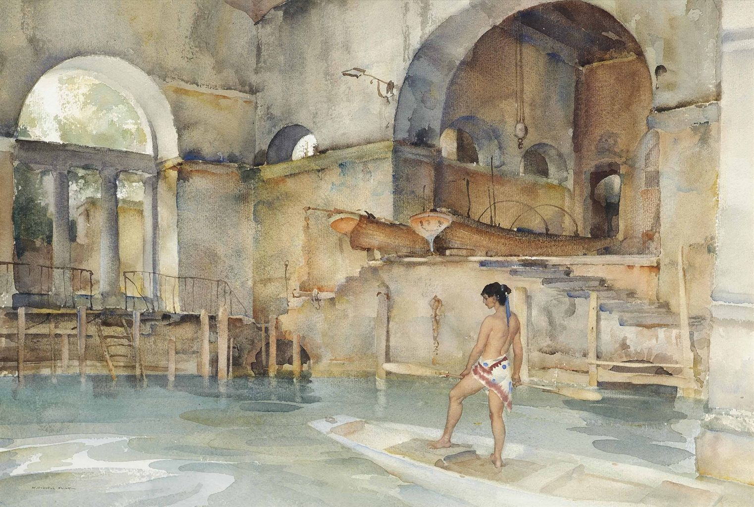 Sir William Russell Flint The Marchesa S Boathouse Watercolor