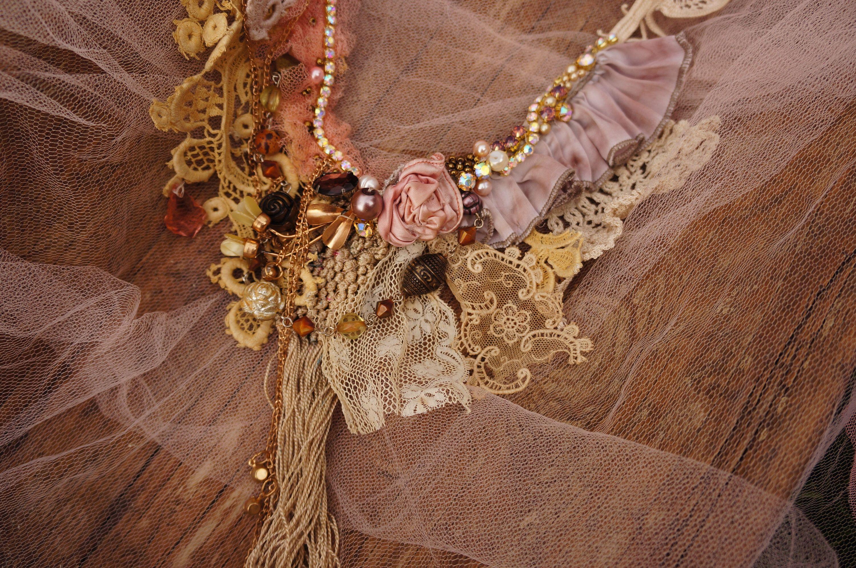 Fairy Wedding Necklace Boho Lace Necklace Bold Statement Necklace