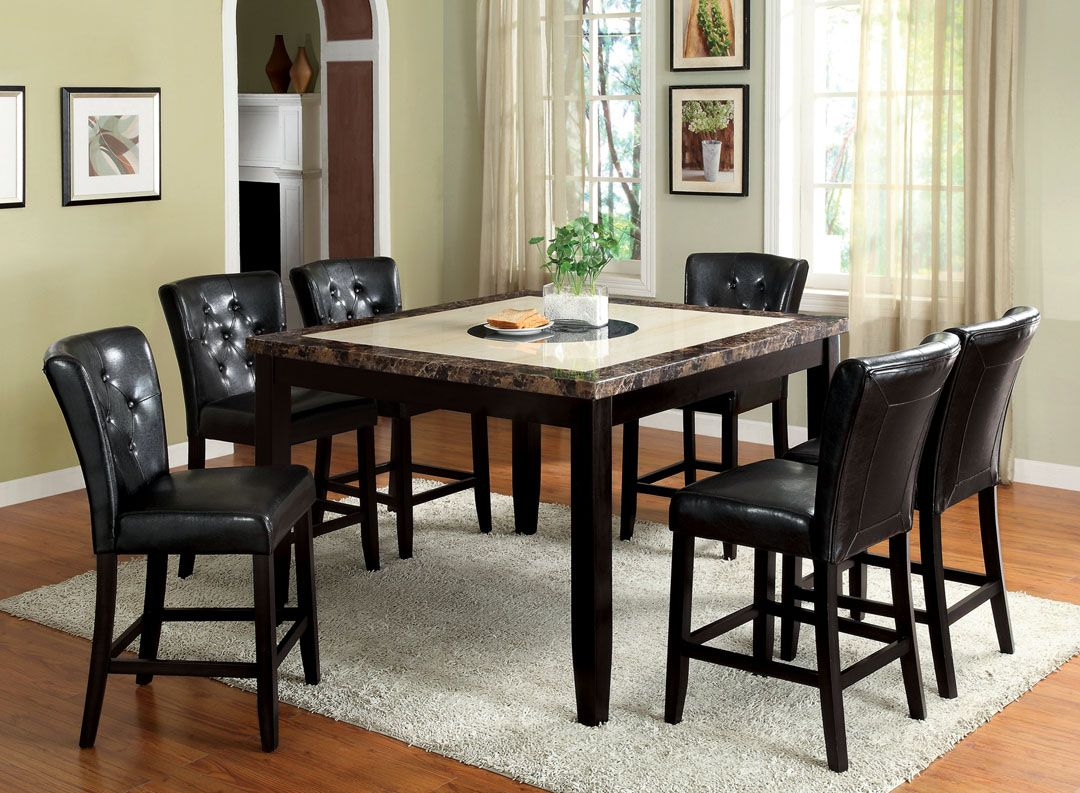 7 Pc. Belleview II Dark Gray And White Faux Marble Table Top And Black Wood