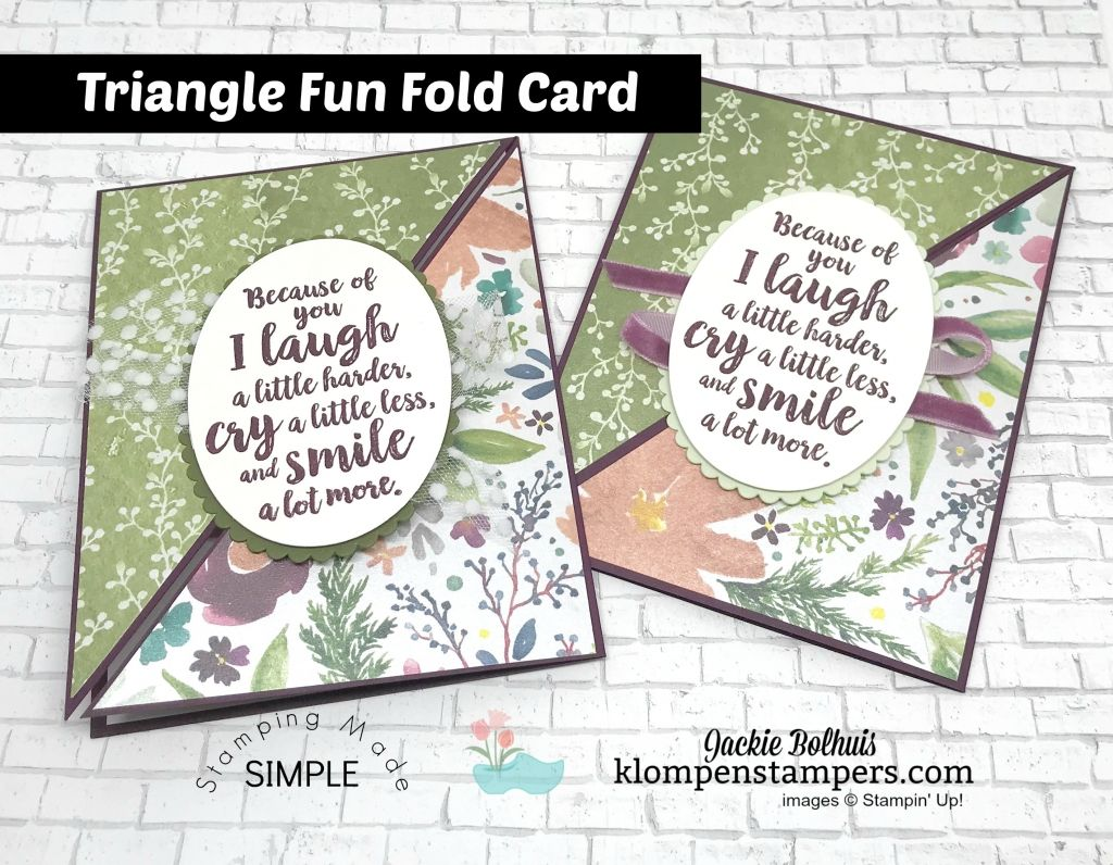 Triangle Fun Fold Card  Klompen Stampers  Fancy fold card