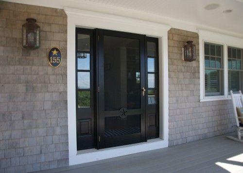 Seaportshutter Com Love The Black Door And Sidelights And Custom Storm Door Black Exterior Doors Custom Storm Doors Custom Screen Doors