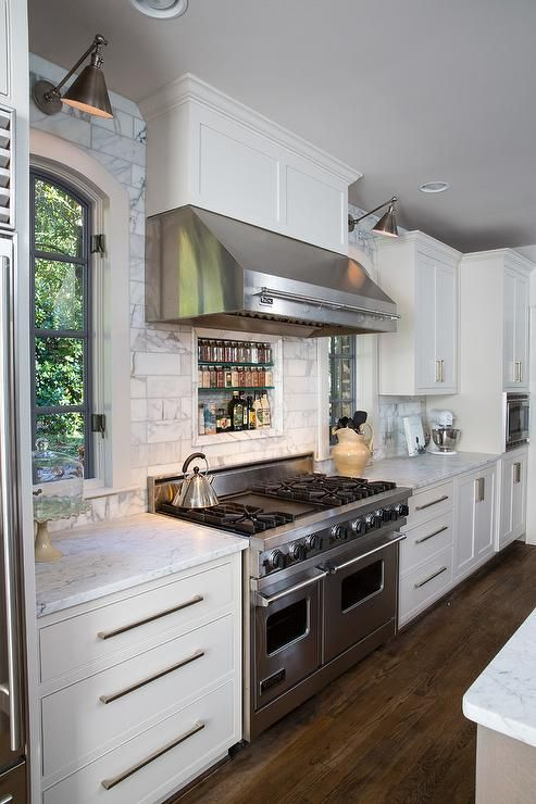 Fabulous Kitchen Features A Stainless Steel Kitchen Hood Which