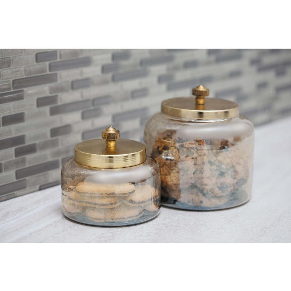 Cosmoliving By Cosmopolitan Cylindrical Smoked Gold Glass Jar With Gold Iron Lid Set Of 2 Smoked Glass Glass Jars Cosmoliving By Cosmopolitan