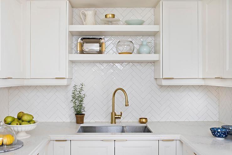Glossy White Herringbone Tile Backsplash Matches Beautifully With