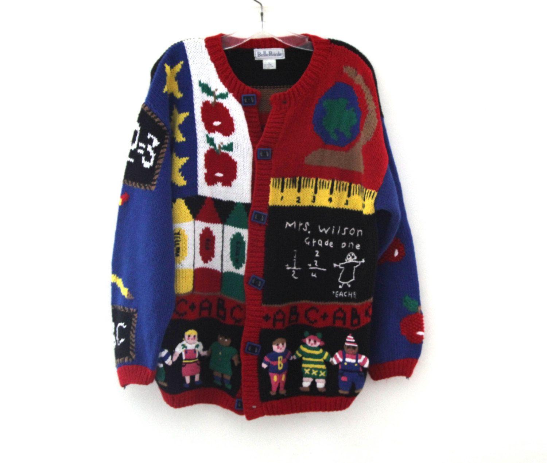 vintage ugly sweater teacher school abcs bus first grade vintagemodern on etsy jpg 1500x1267 ugly sweater