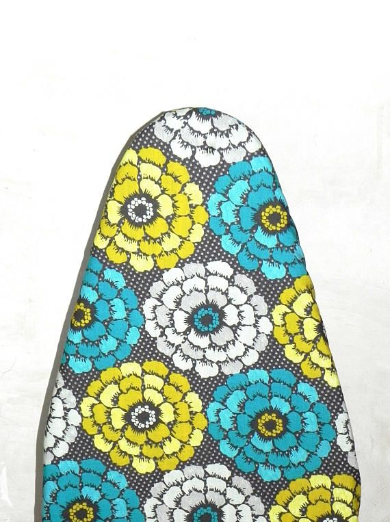 Tabletop Ironing Board Cover Floral In Teal Yellow Mustand