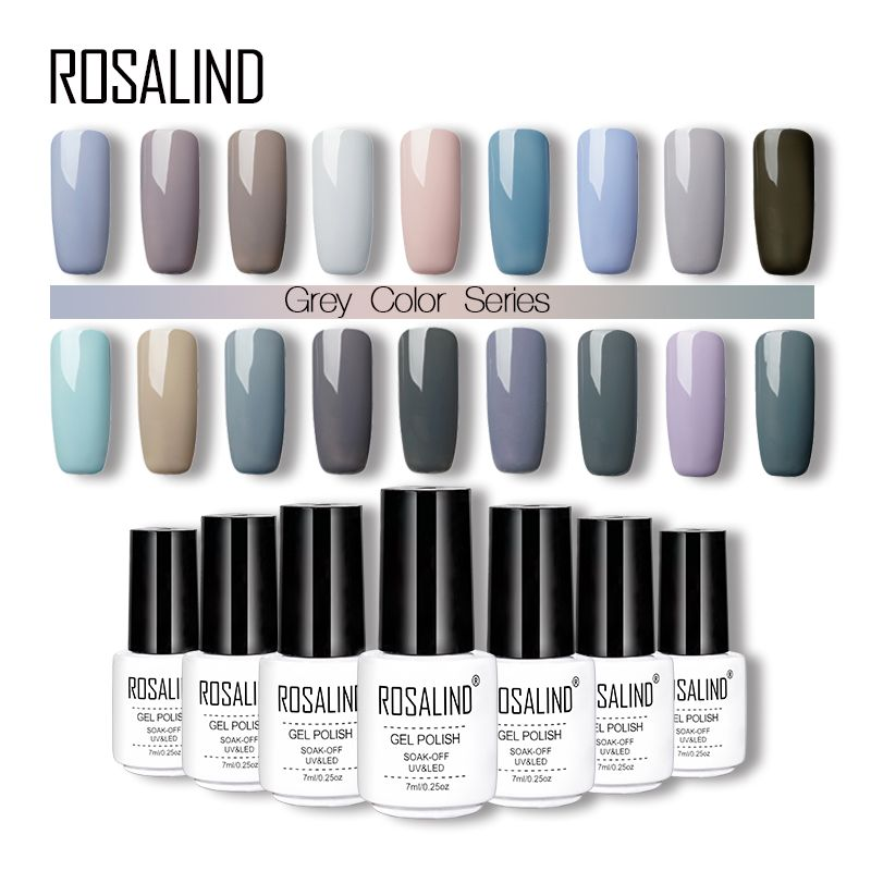 Rosalind 18 Gray Colors Nail Gel Polish Soak Off For 7ml Long Lasting Vernis Uv Nair Art Beauty