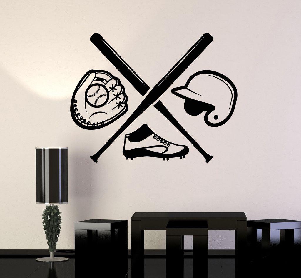 Vinyl Wall Decal Baseball Boys Room Sport Bat Sports Fan Art Wall - Vinyl wall decals baseball