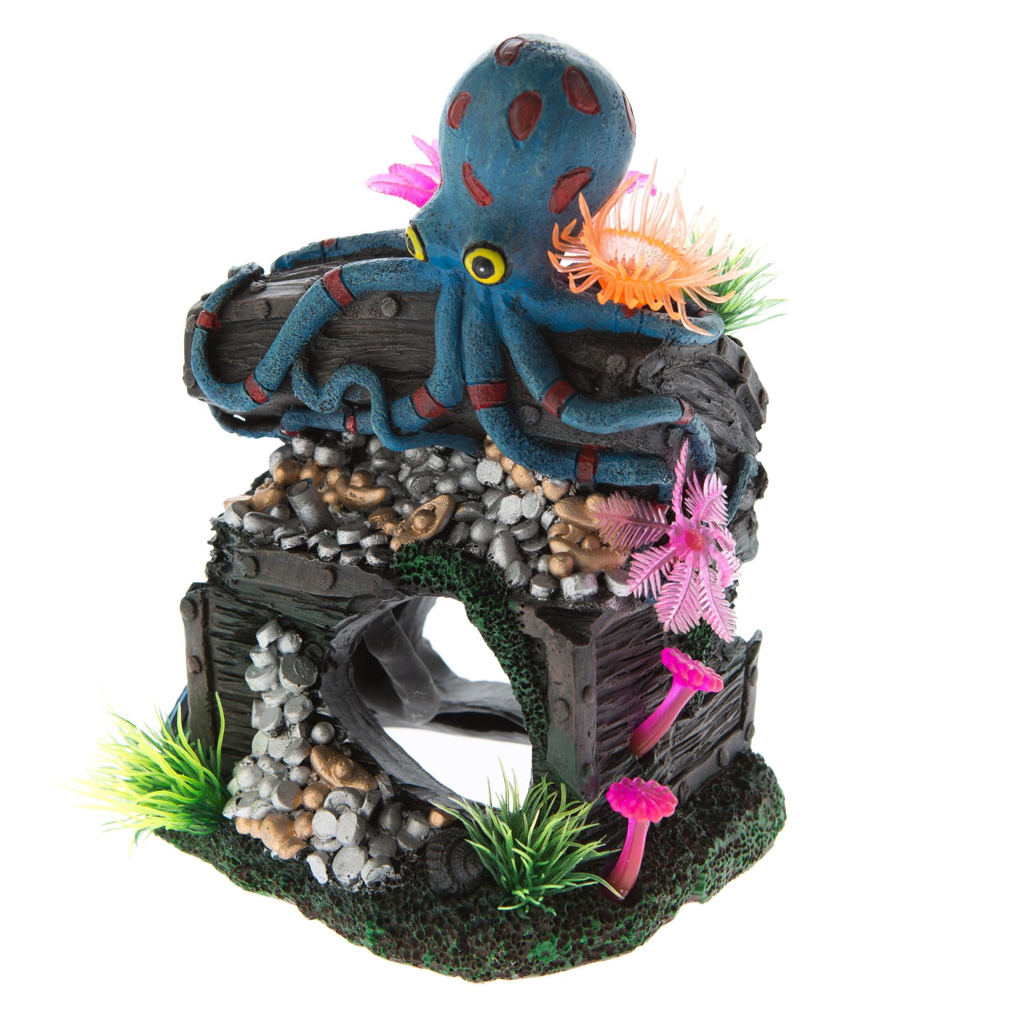 Top Fin Sunken Octopus with Treasure Aquarium Ornament