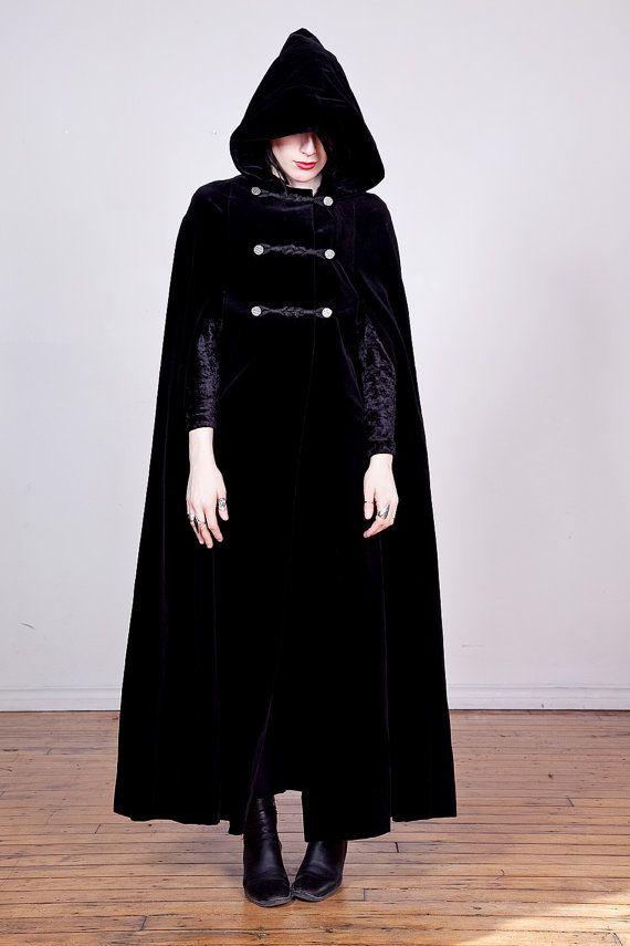 5cfec671c7 80s black velvet cloak with hood   braided by darklandsvintage ...