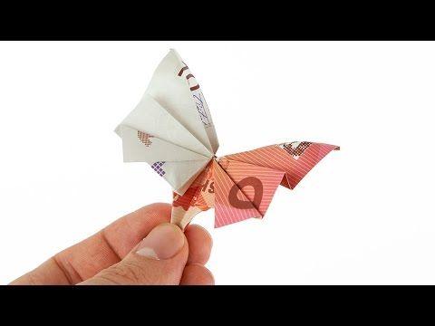 geldscheine falten schmetterling geldgeschenke basteln origami tiere mit geld falten zur. Black Bedroom Furniture Sets. Home Design Ideas