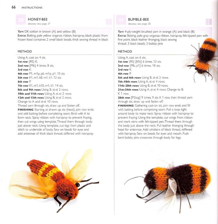 Honey-Bee and Bumble-Bee ~ Free Knitting Pattern | Water creatures ...