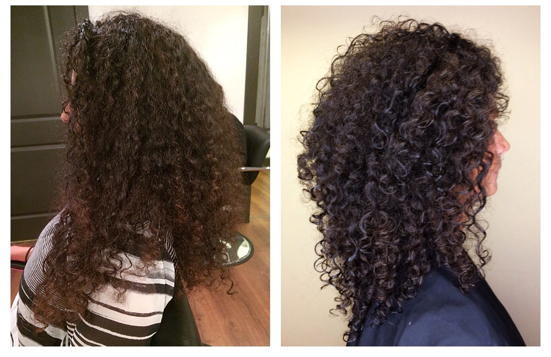 Before After Curly Hair Cut