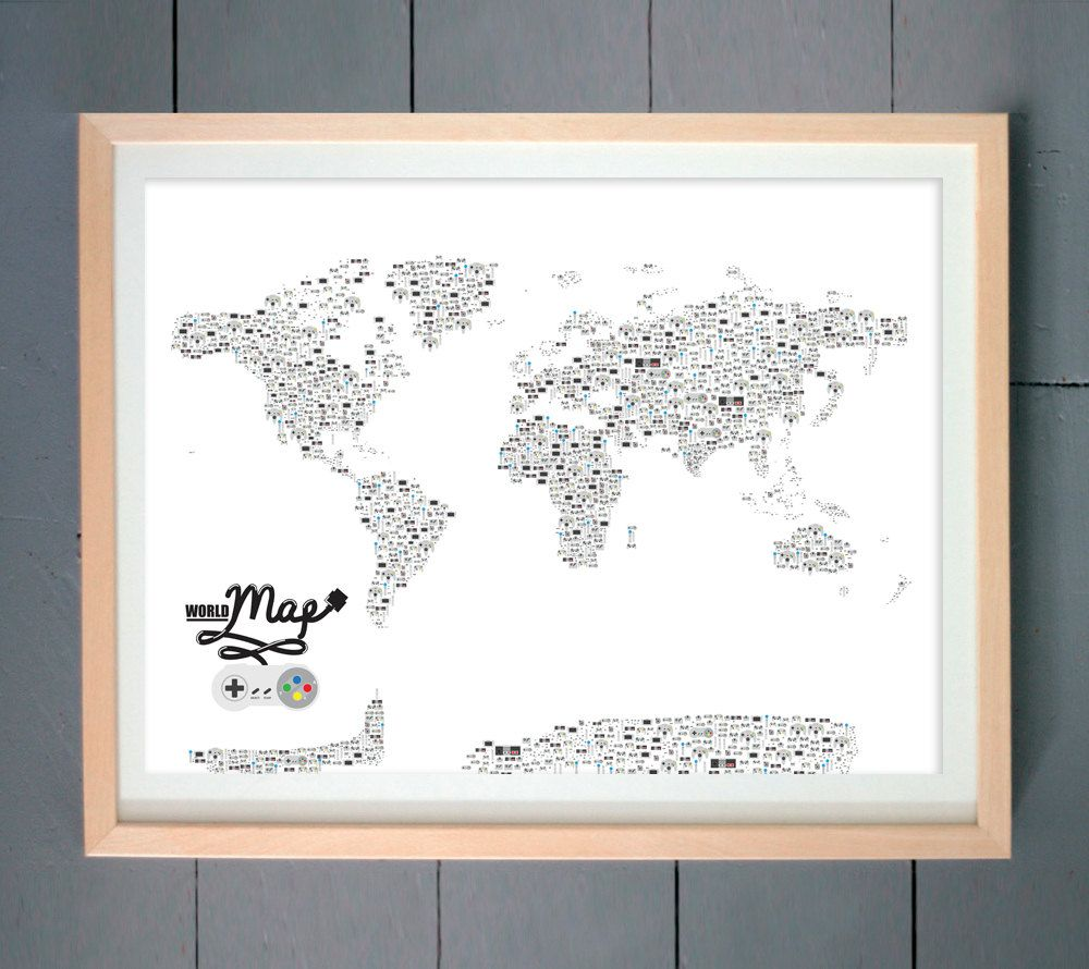Video game controllers world map art print made with video game video game controllers world map art print made with video game controllers various sizes available inches gumiabroncs Choice Image