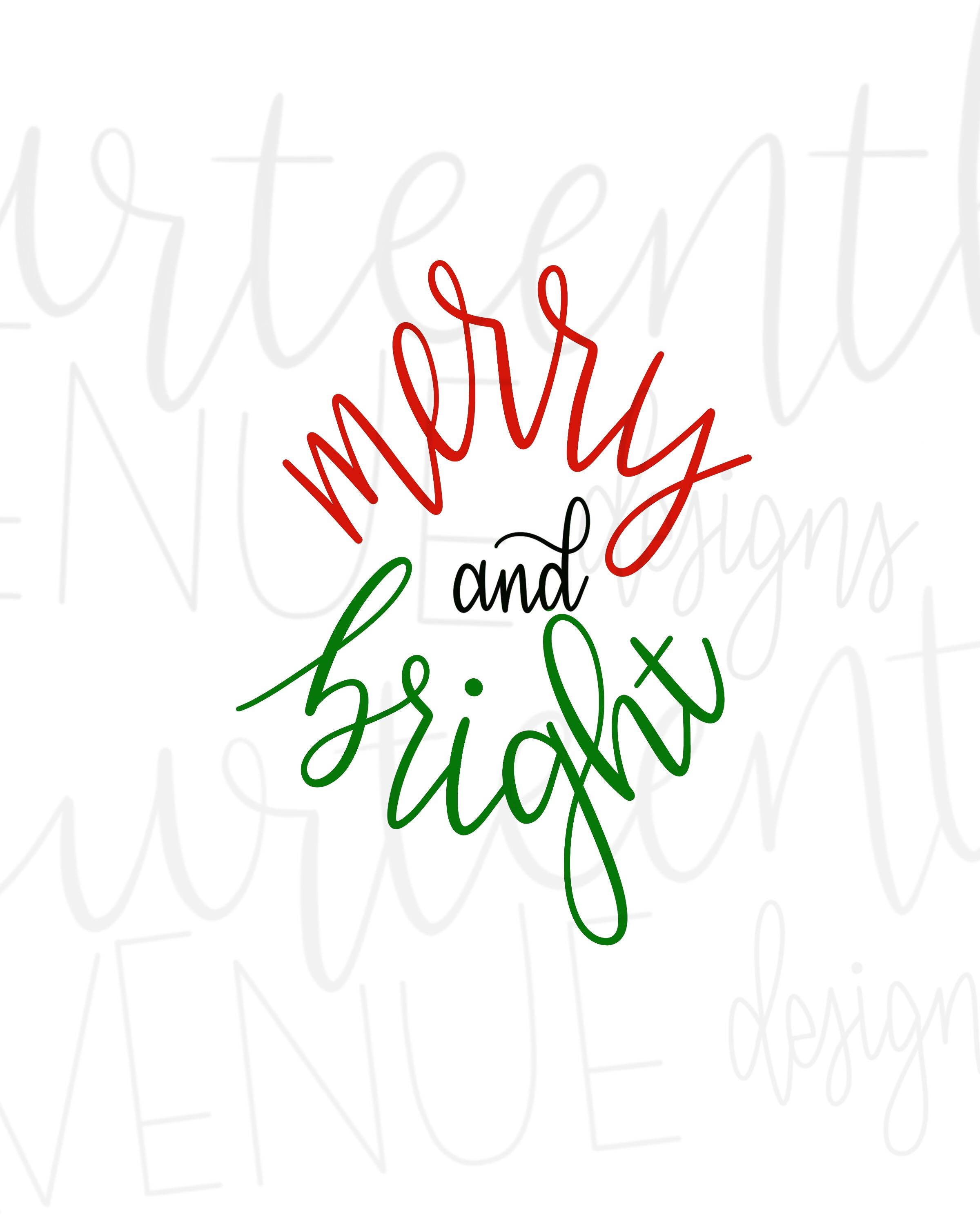 Merry And Bright Svg Christmas Svg Png Dxf Clip Art Etsy Christmas Svg Merry And Bright Clip Art
