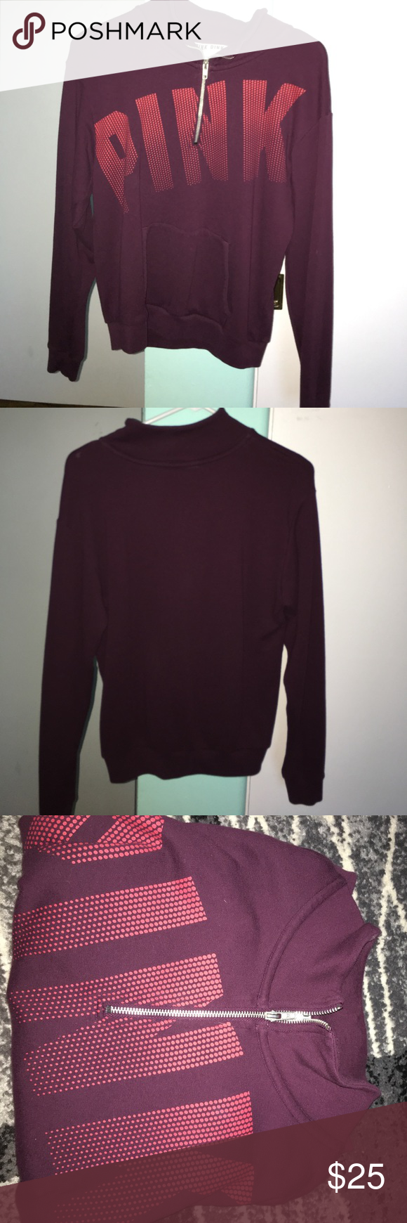 Burgundy VS PINK half zip sweater Brand new condition, worn once ...