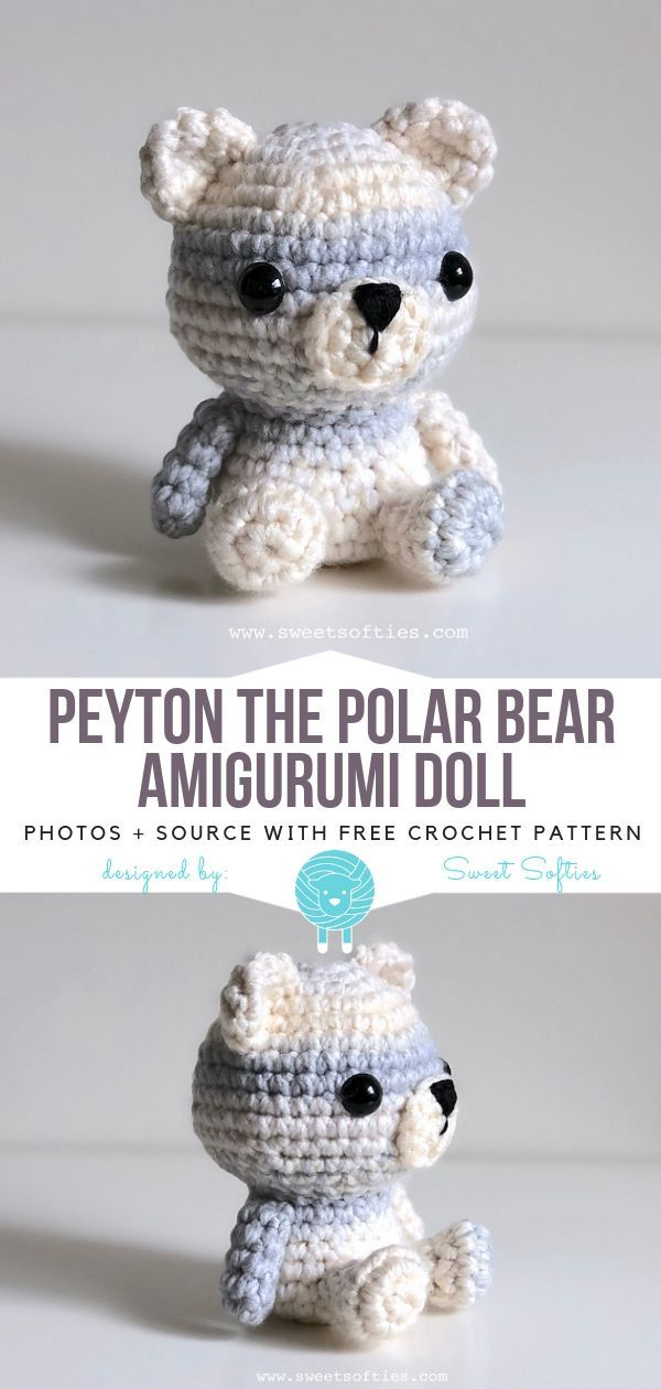 Peyton The Polar Bear Amigurumi Doll Free Crochet Pattern #crochetbear