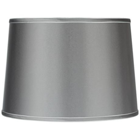 sydnee satin charcoal gray drum lamp shade 14x16x11. Black Bedroom Furniture Sets. Home Design Ideas