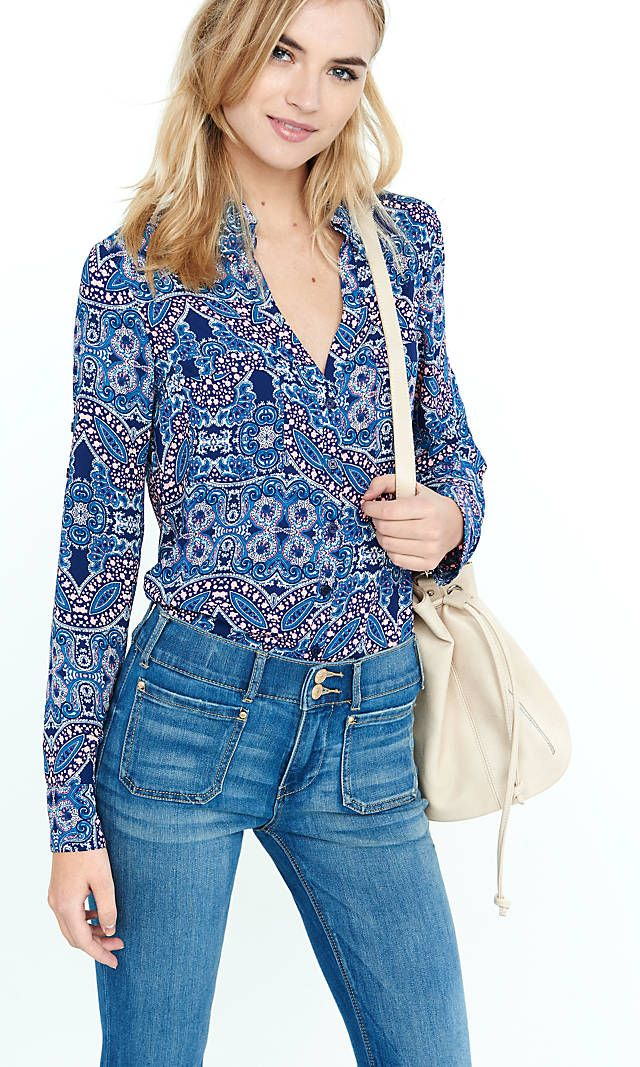 Original Fit Blue Paisley Portofino Shirt | Express