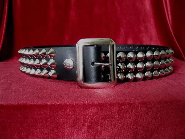 Body Rage 3 Rows of Studs Spike Faux Leather Belt with Interchangeable Buckles