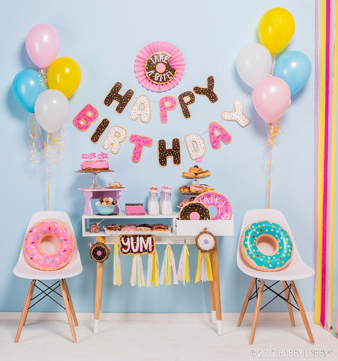 Party Planning On Your Agenda This Delectable Donut Decor Is Here To Do The Entertaining For Donut Party Decorations Donut Birthday Parties Donut Theme Party