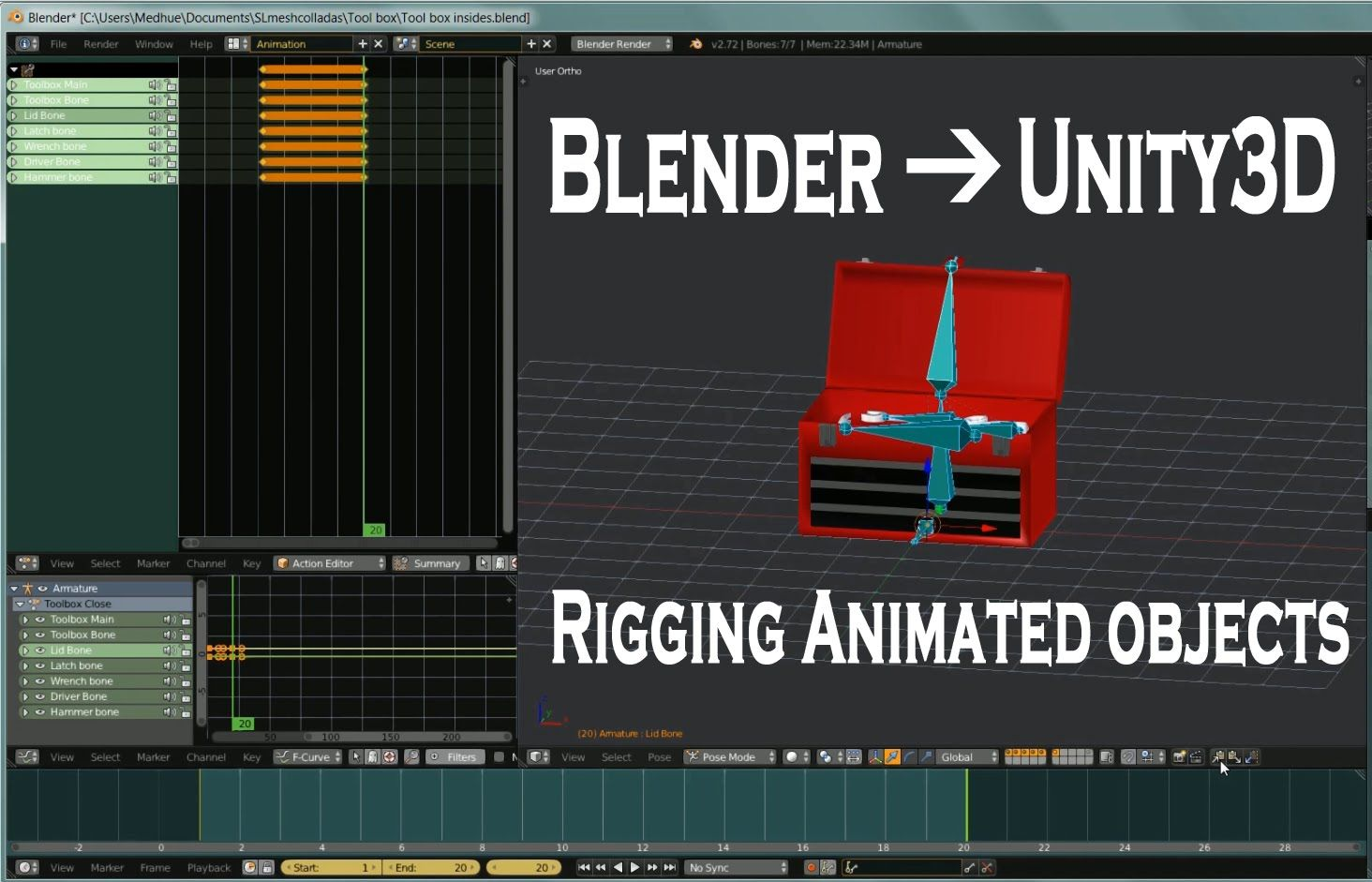 Blender to Unity3D Rigging Animated Objects for Games