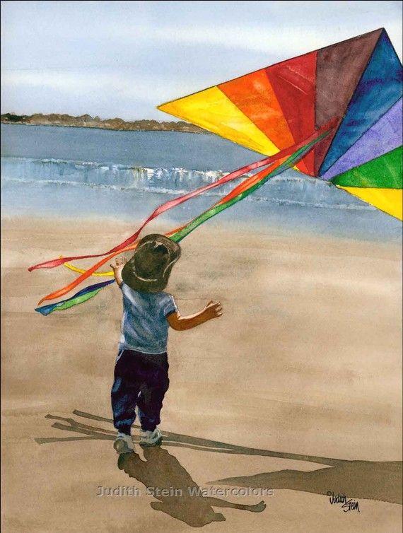 Boy Toddler Flying Kite On Beach Sand Seashore Blue Shirt