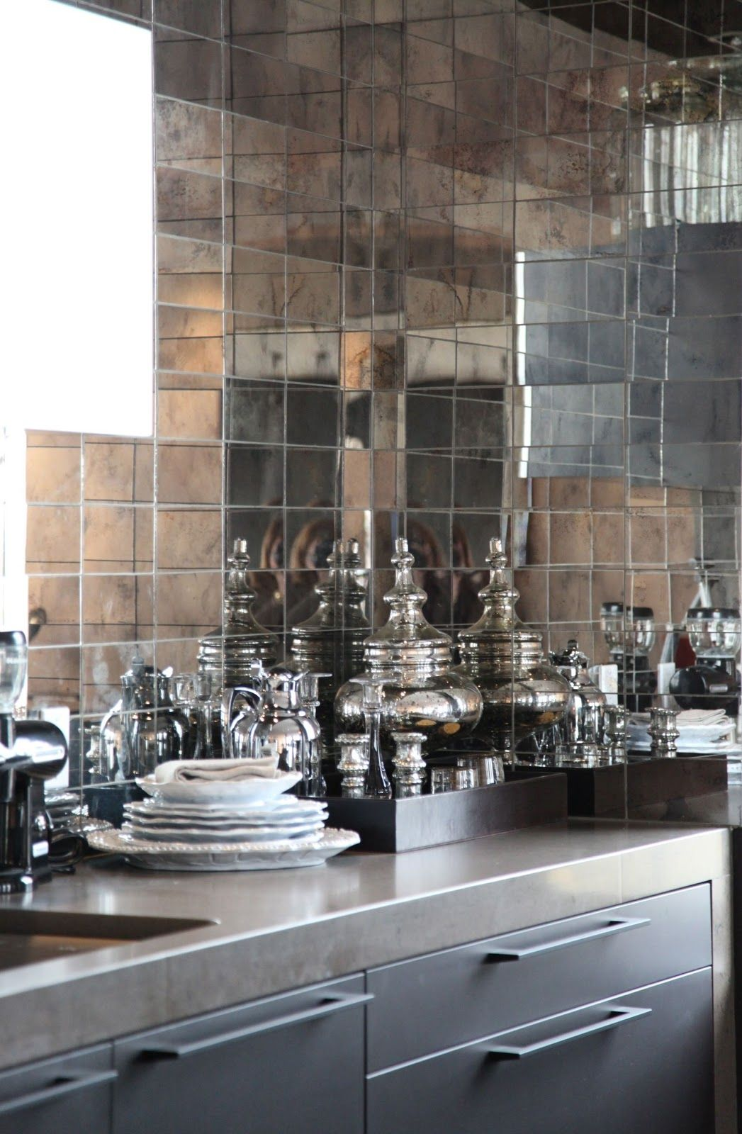 Ann Sacks Mirrored Backsplash For A Wet Bar