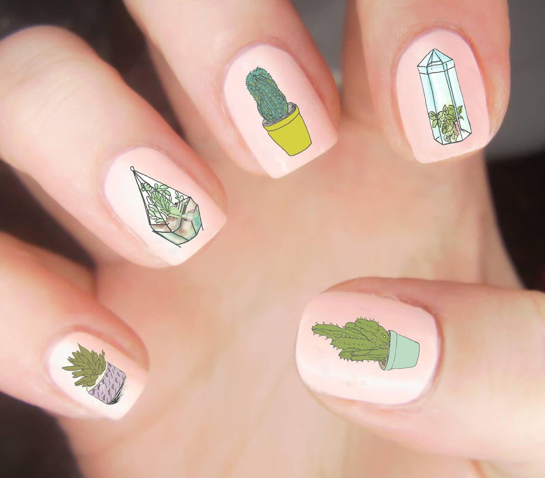 Suck on that!  Our Succulent Nail Decal Set features 20 colorful/cute illustrations of various succulents, terrariums, and cacti. #succulentterrarium