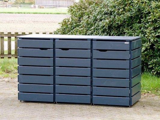 3er m lltonnenbox aus holz f r 120 l 240 l tonnen farbe deckend ge lt anthrazit haus. Black Bedroom Furniture Sets. Home Design Ideas