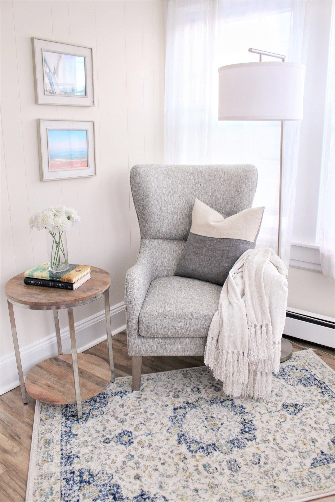 Coastal Cozy Reading Nook   Cabana State Of Mind is part of Bedroom reading nooks - I turned this corner of our house into a cozy reading nook perfect for curling up with a book or enjoying a cup of coffee with the windows open