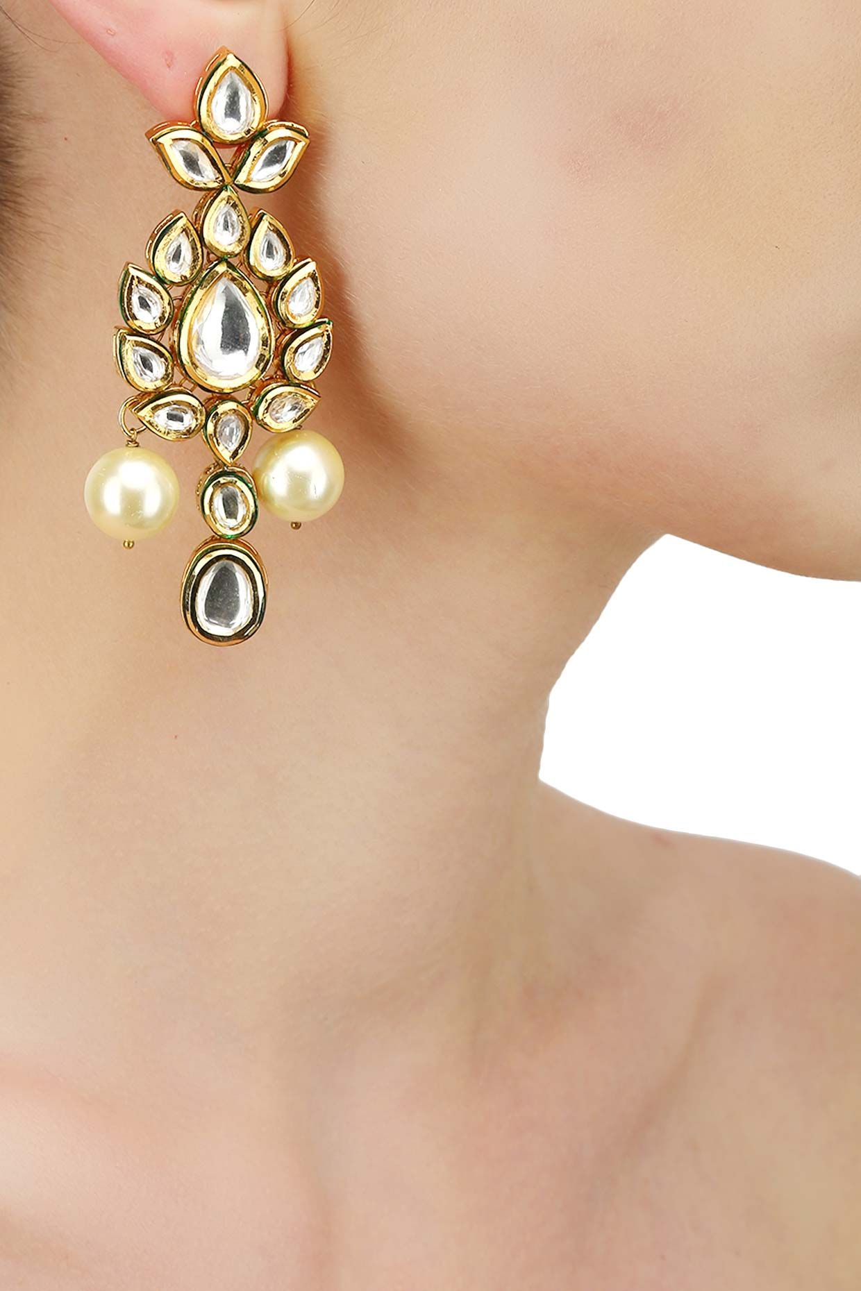 Gold finish polki and pearl long earrings available only at