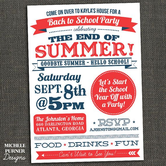 BACK TO SCHOOL End of Summer party invitation Printable or – Summer Party Invite