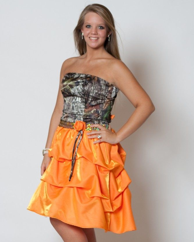 Camo Formal Dresses with Orange Satin | Fashionsup | Pinterest ...